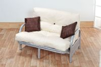 Mexico Double 4FT6 Tri-Fold Silver Futon Sofa Bed Frame